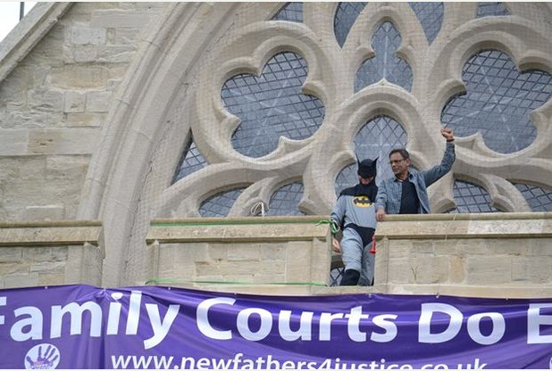New_Fathers_4_Justice_Scale_Exeter_Cathedral_June_2014