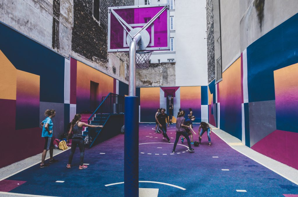 right to play basketball brightly coloured