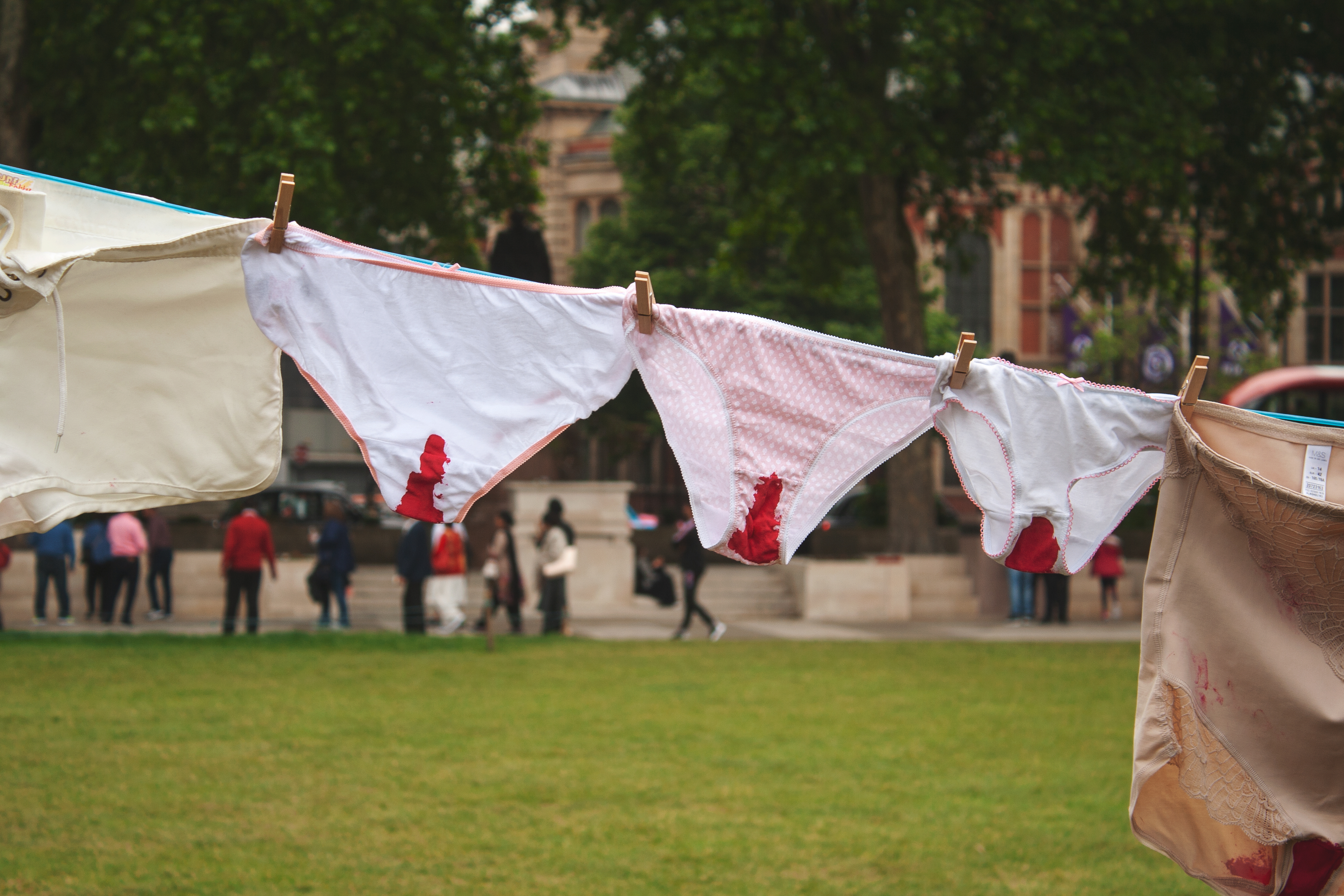 a line of 'bloody' pants to highlight period poverty