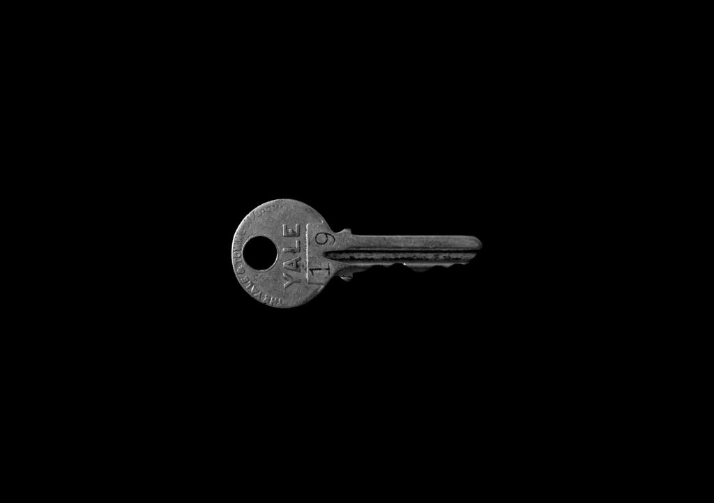 key on a black backrgound
