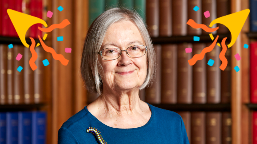 Lady Hale with party streamers