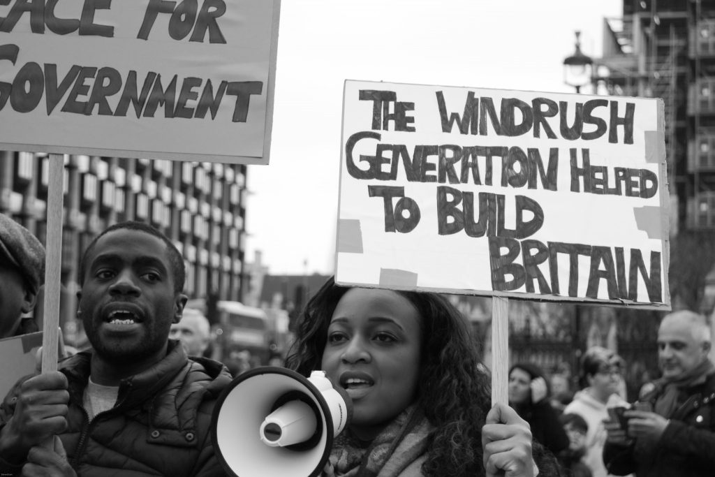 Woman and man at Windrush protest