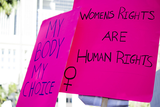 women's rights and abortion - a placard from a pro choice protect