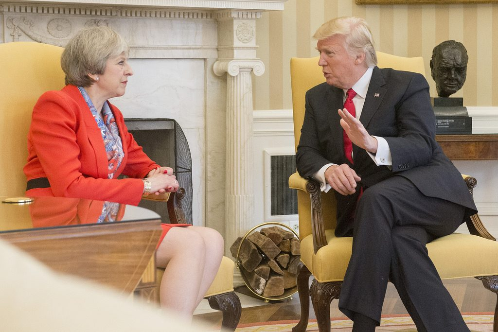 Donald Trump and Theresa May meet in the USA