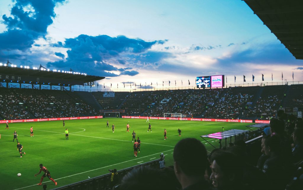 football match in a stadium