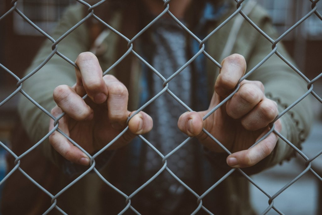 hands in fence