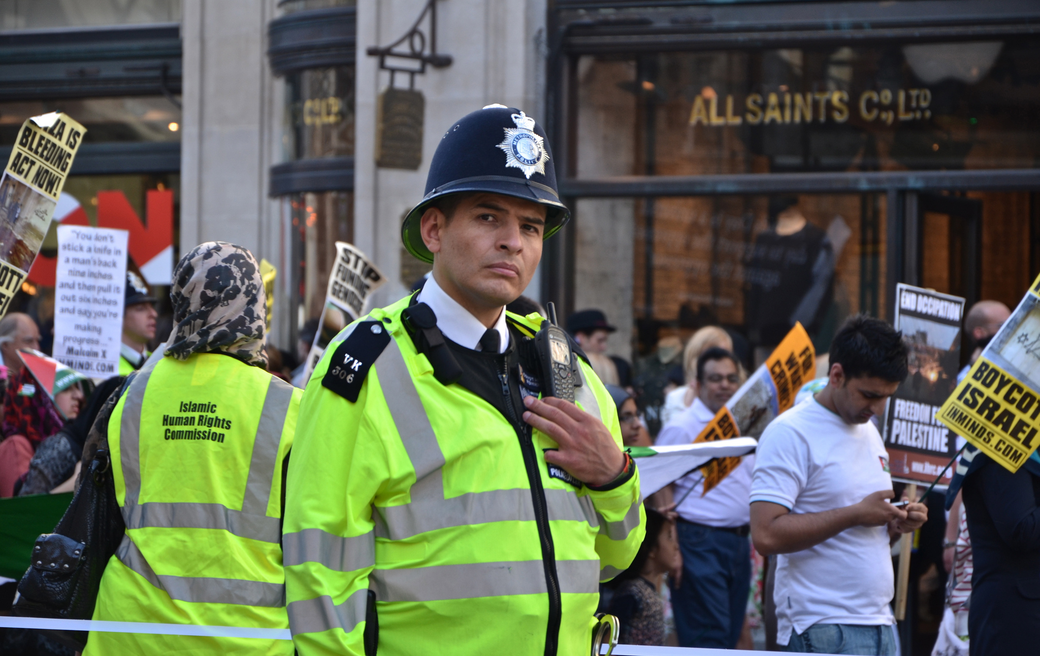 police at a protest in 2012