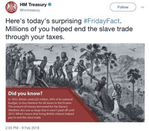 a hastily deleted tweet about slavery