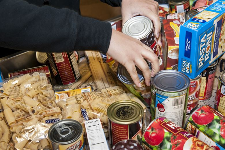 Food bank collections are sorted.