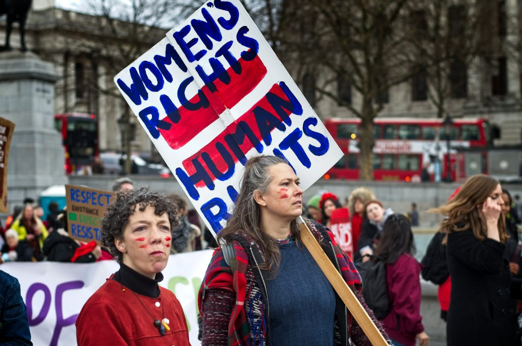 Women's rights are human rights sign.