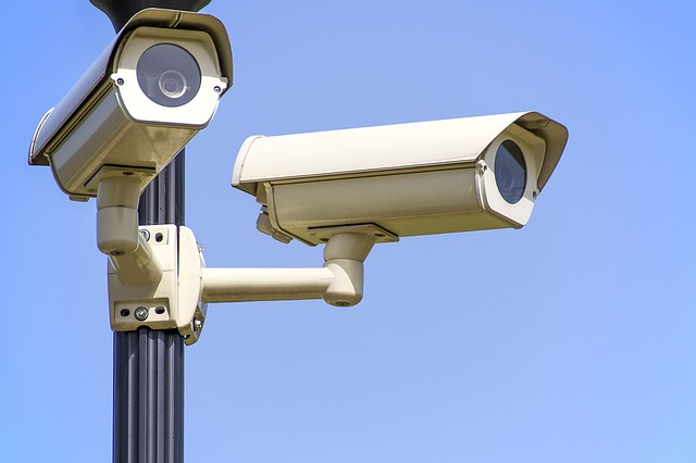 Two surveillance cameras, facial recognition monitoring.