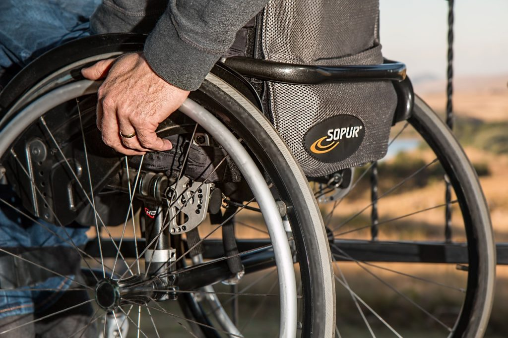 Steve PB pixabay https://pixabay.com/en/wheelchair-disability-injured-749985/