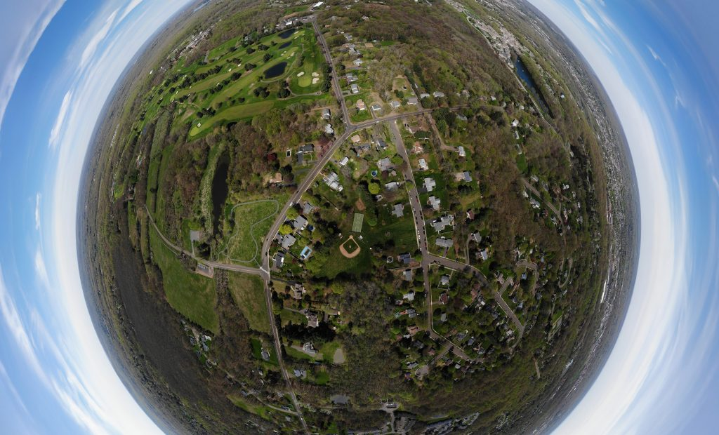 a fish eye view of a small village from above
