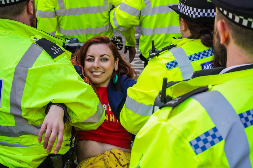Extinction Rebellion activist arrested (Ollie Cole)