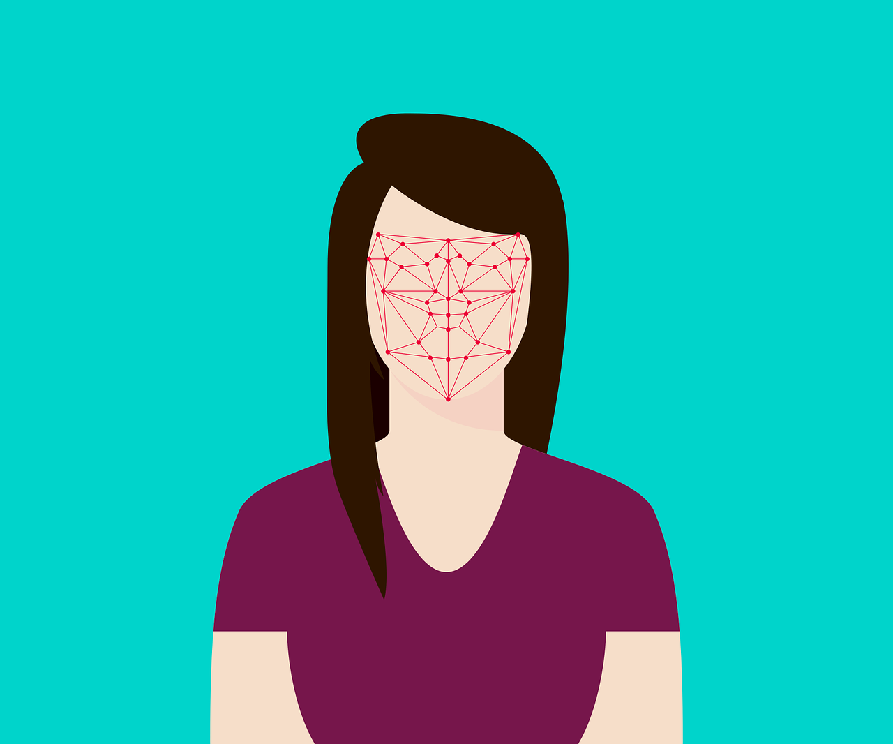 An illustration of a woman's face being mapped