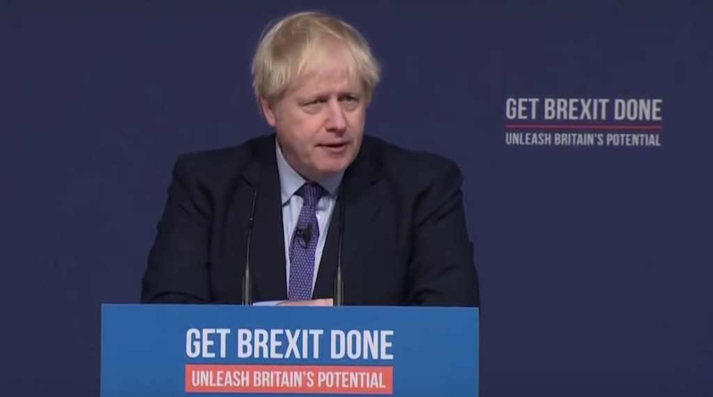 Conservative leader Boris Johnson speaks at the launch of the Conservative Party manifesto in the 2019 general election.