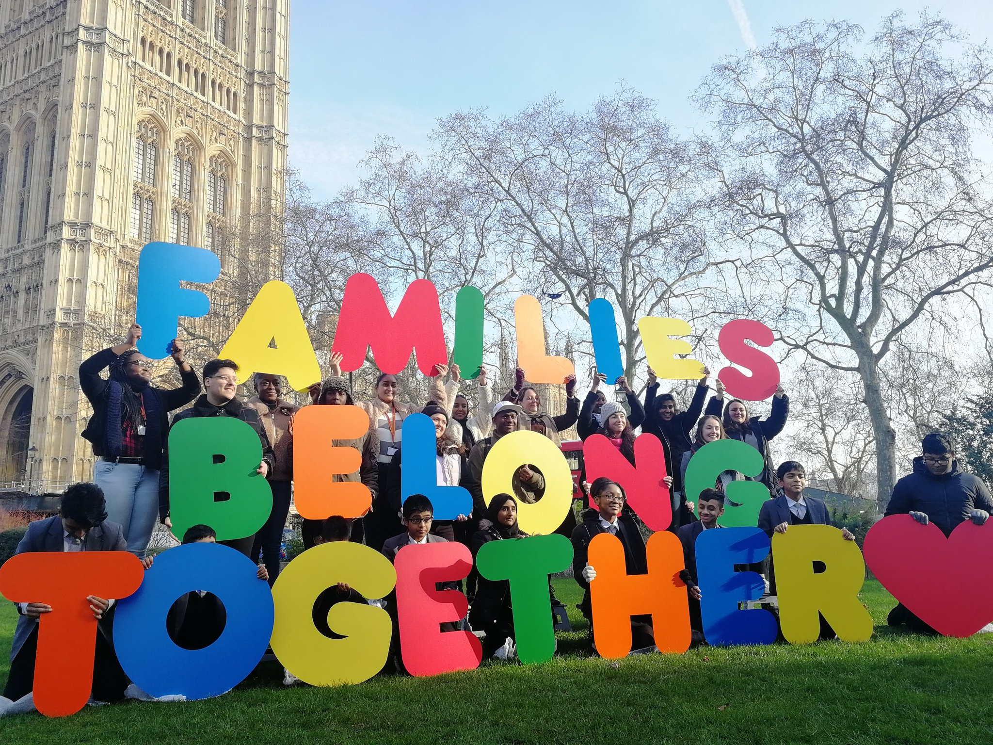 Children protest Home Office's refugee family reunification rules