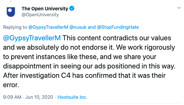 Open University responding to a post about their adverts being shown on a Channel 4 show that 'dehumanises' the traveller community