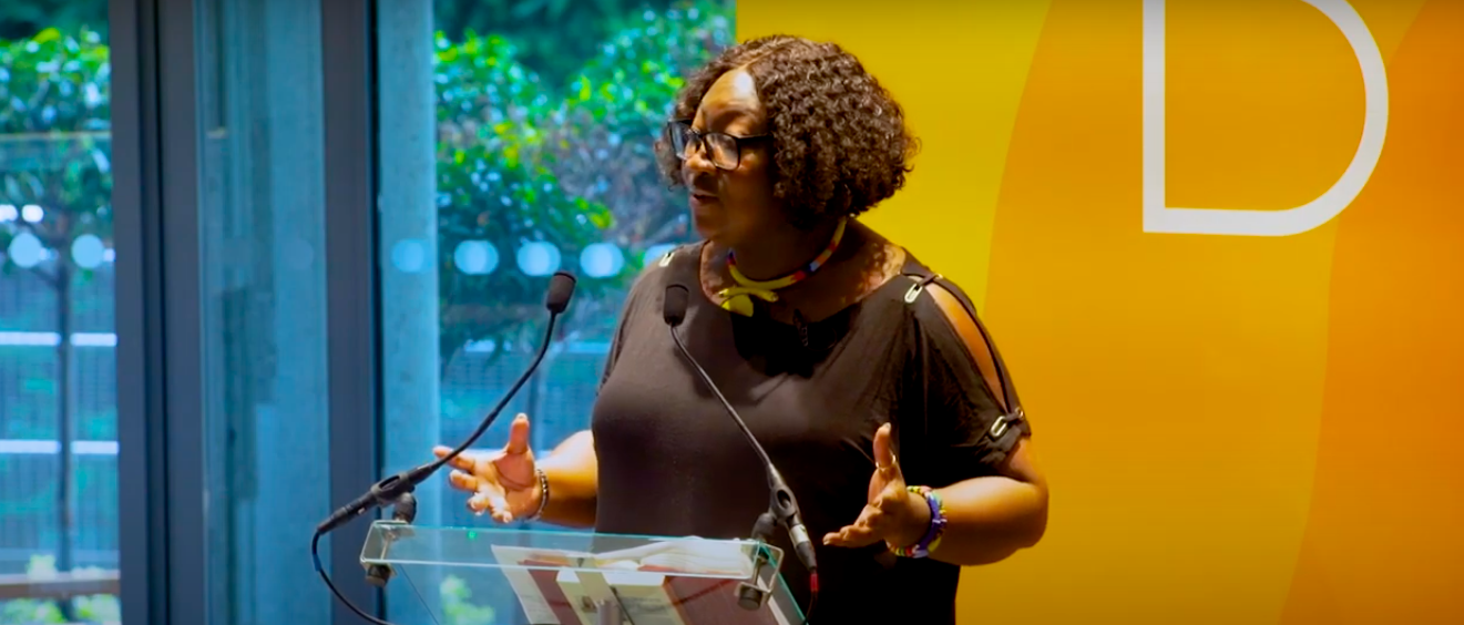 Lady Phyll speaking at a Bloom UK event