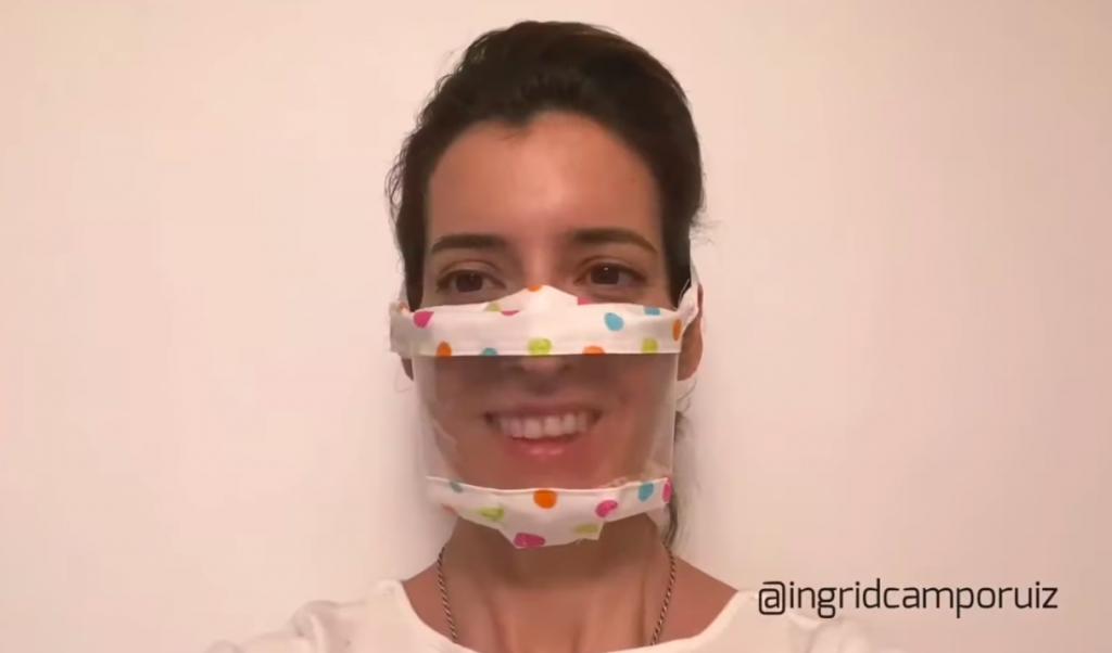 A screenshot from a video on how to make a clear face mask to help deaf people and those with hearing loss.
