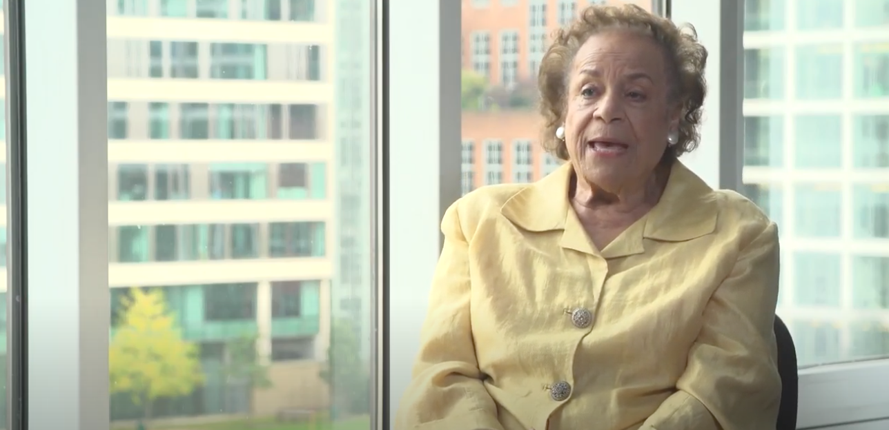 A photo of Dame Jocelyn Barrow in an article about Black History Month