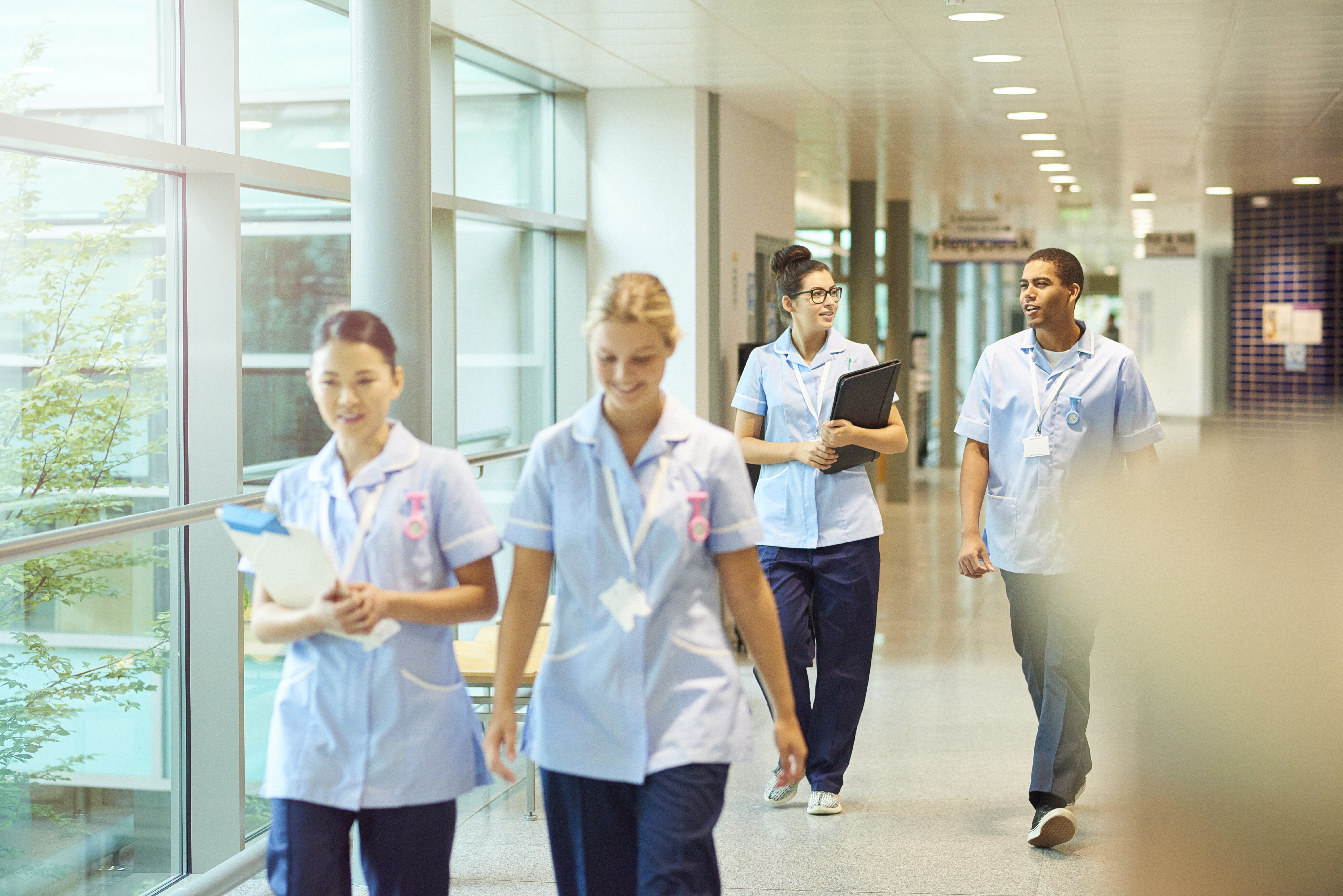 a group of four young trainee nurses including male and female nurses , walk towards camera down a hospital corridor . They are wearing uk nurse uniforms of trousers and tunics.