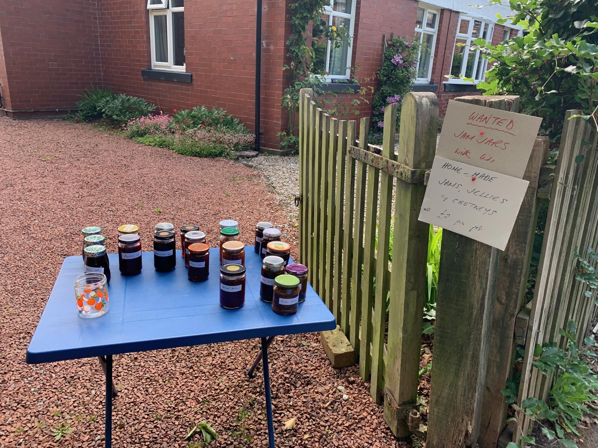local residents selling homemade jam during lockdown
