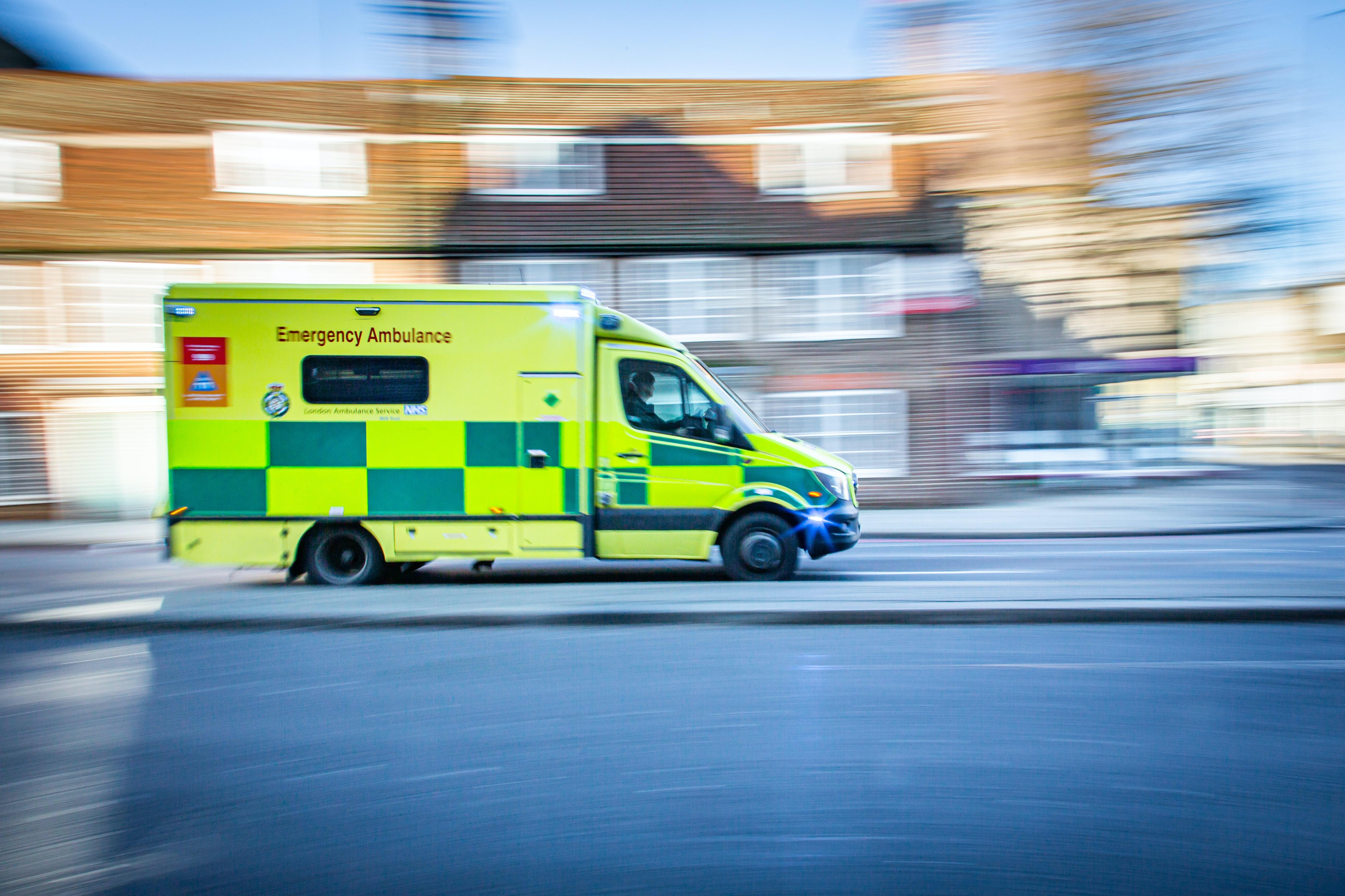 An NHS van responding to an emergency