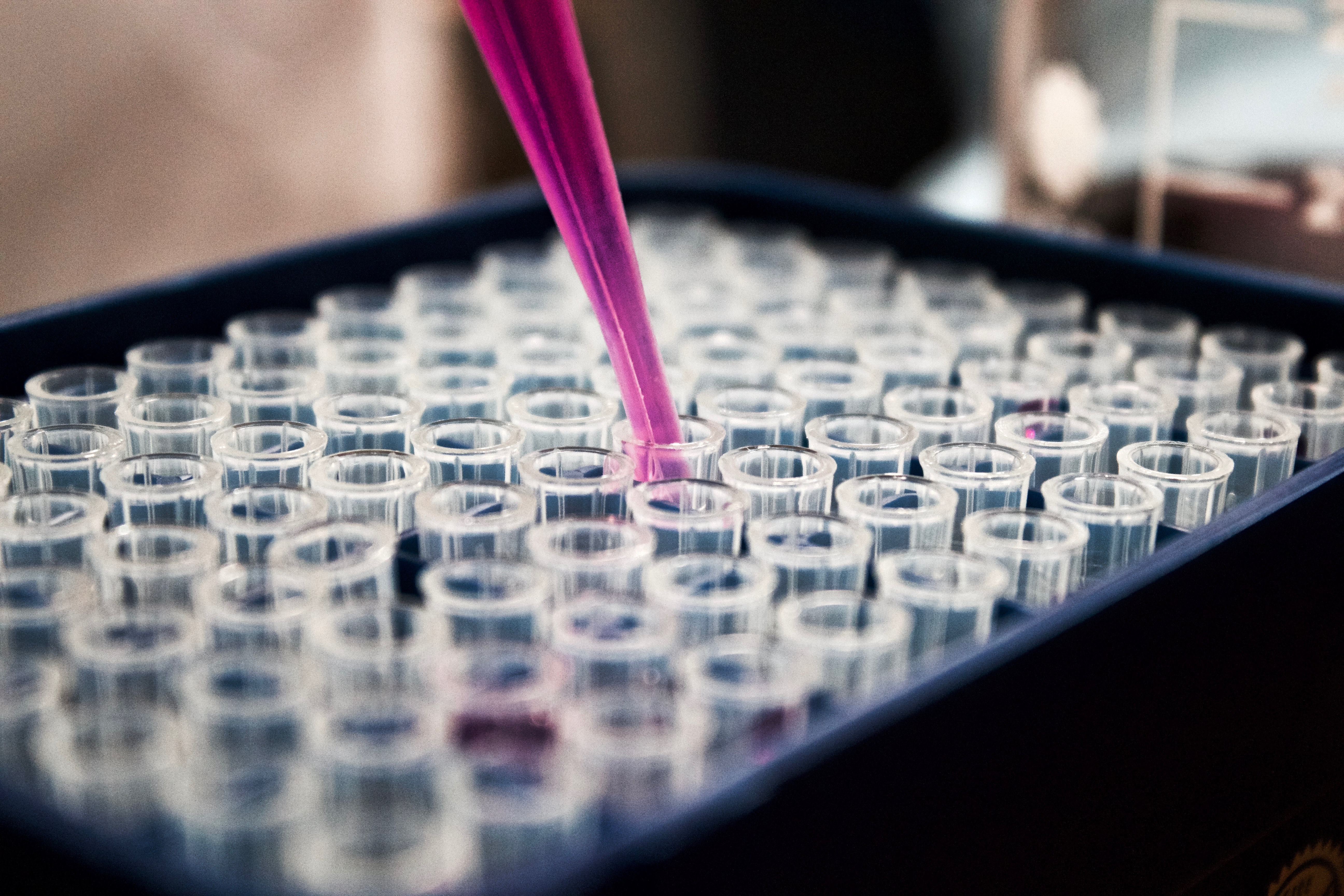 A pink pipette squeezes a liquid into one of a bunch of clear vials.