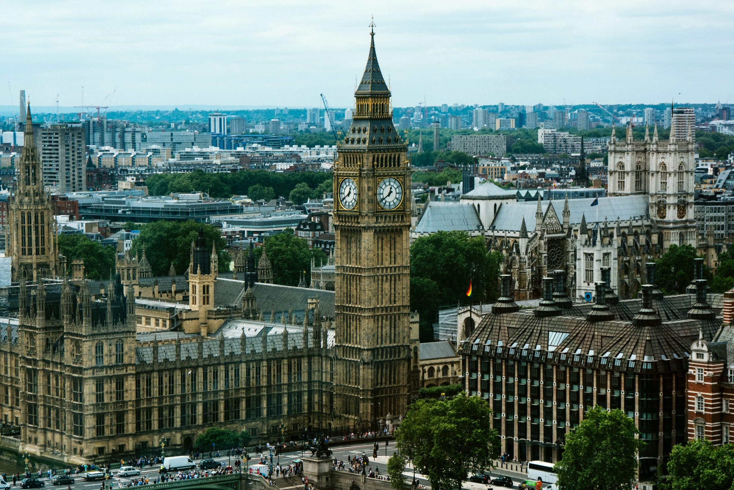 A wide shot of the house of parliament and big ben