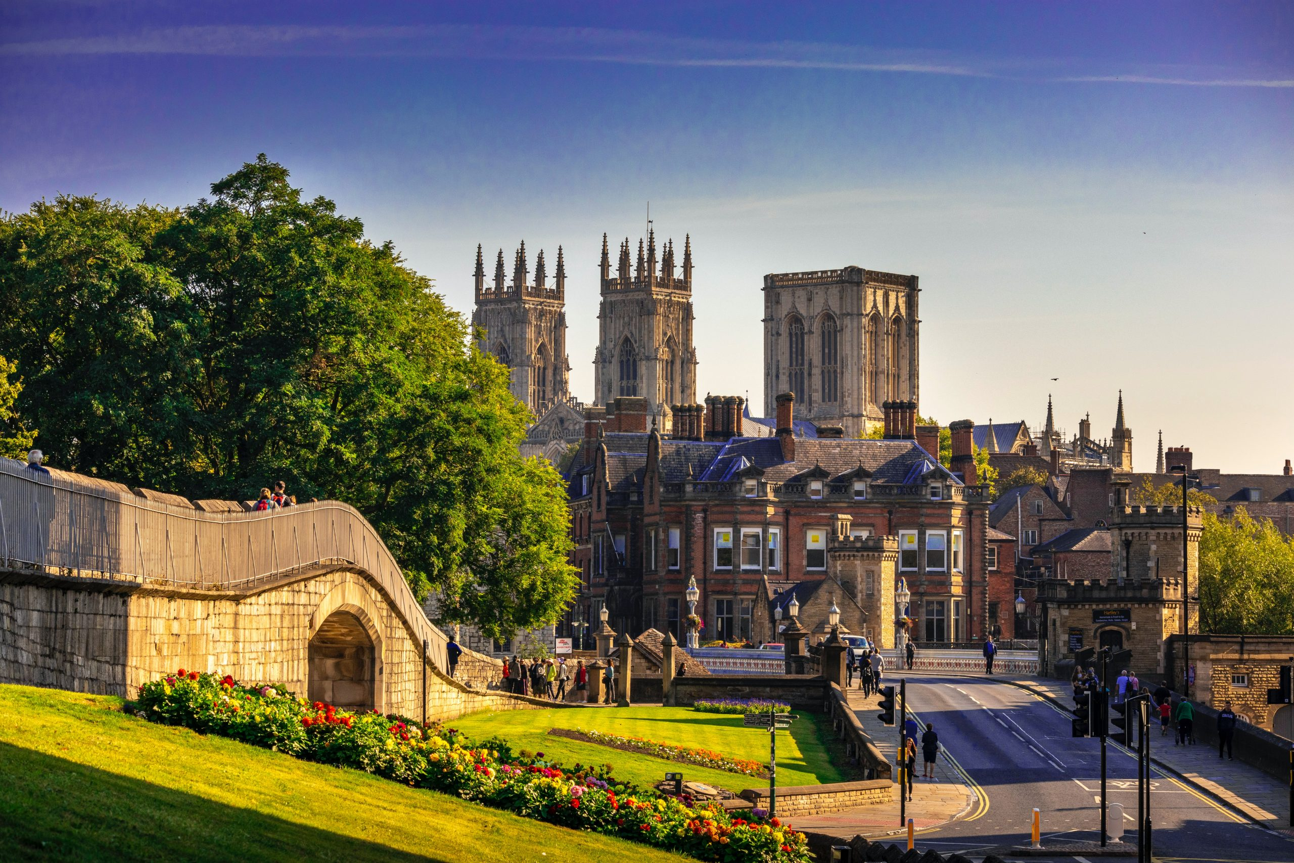 The city skyline of York with the cathedral in the background.
