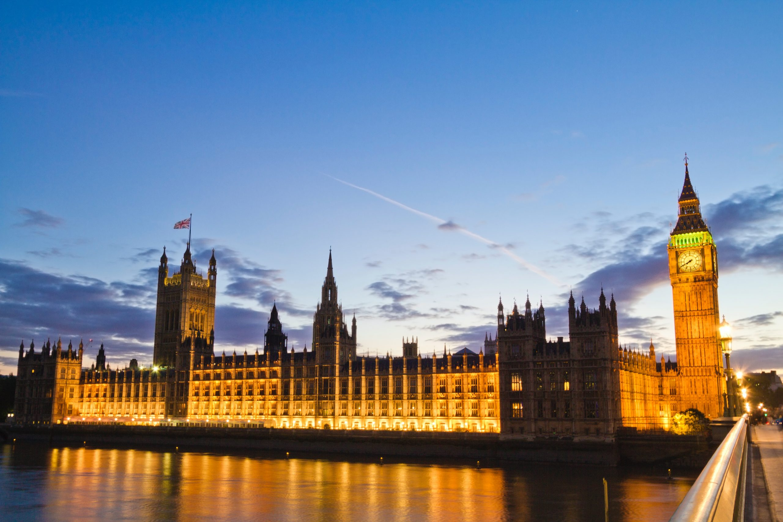 The House of Commons at sunset